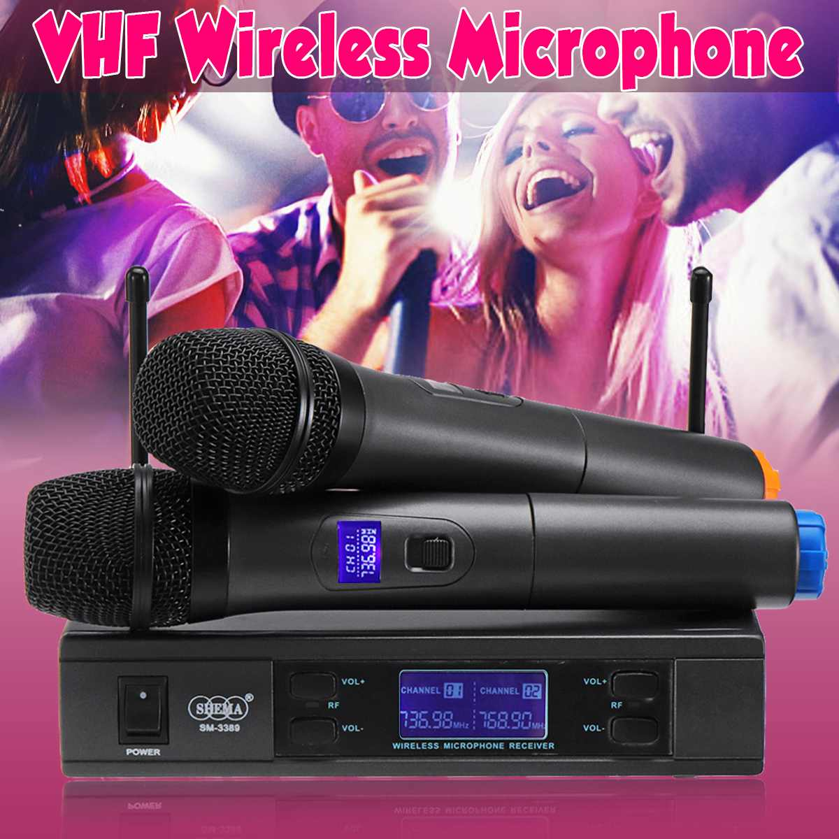 UHF Wireless Microphone System LCD Dual Mic Handheld Cordless Stage KTV Kareoke Wide Frequency Adouble-way 2 Channels Wide RangeUHF Wireless Microphone System LCD Dual Mic Handheld Cordless Stage KTV Kareoke Wide Frequency Adouble-way 2 Channels Wide Range