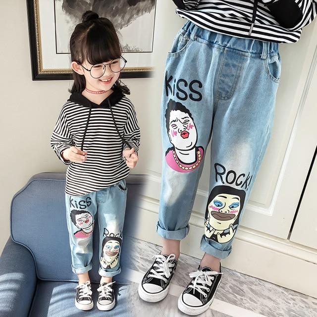 dc342a82b0eec4 Kinderkleding Meisjes Cartoon Print Jeans en Najaar Nieuwe kinderen Broek  Kids Broek Print Baggy Jeans 2