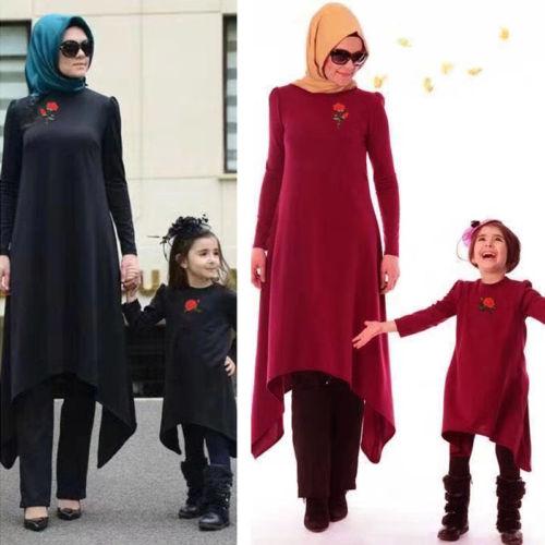 2018 Women Girl Family Mathing Style Abaya Muslim Islamic Maxi Long Dress Robe New
