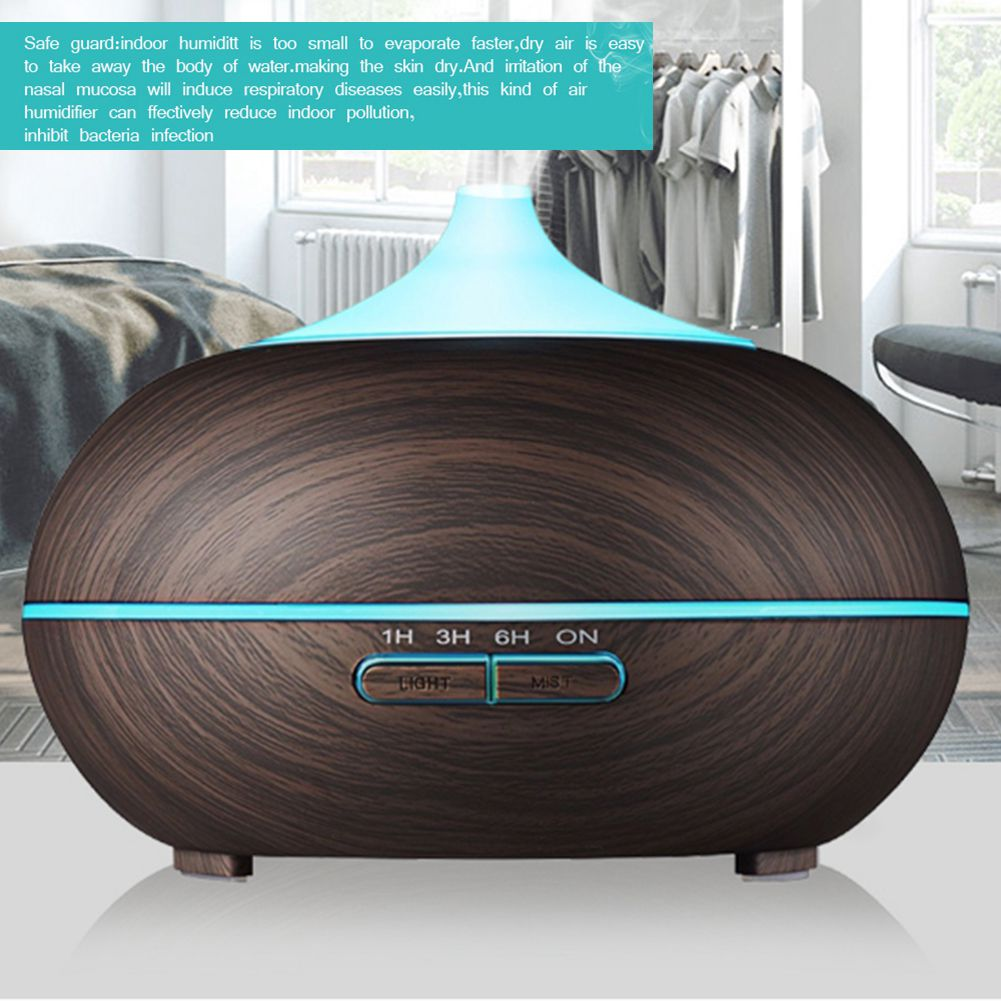300ml Wood Grain Ultrasonic Cool Mist Humidifier Quiet Humidifier with Color LED Lights Changing & 4 Timer Settings for Yoga S