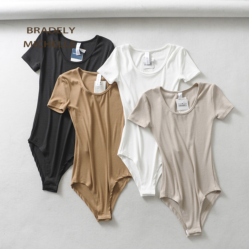 BRADELY MICHELLE 2019 Sexy Women Slim Short-Sleeve Deep O-neck Tops Bodysuits female rompers streetwear   Jumpsuits