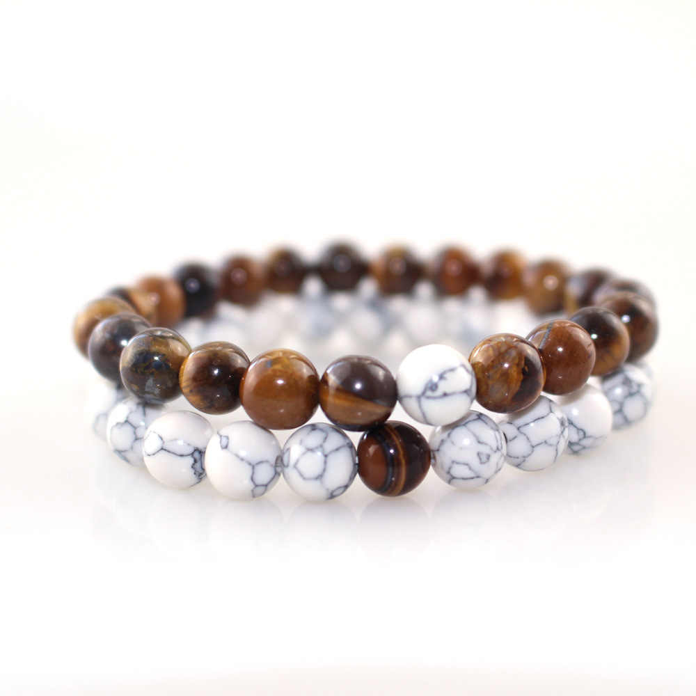 Couples Distance Bracelet Classic Natural Pattern&Tiger eye Stone White and Yellow   Bracelets for Men Women Best Friend Hot