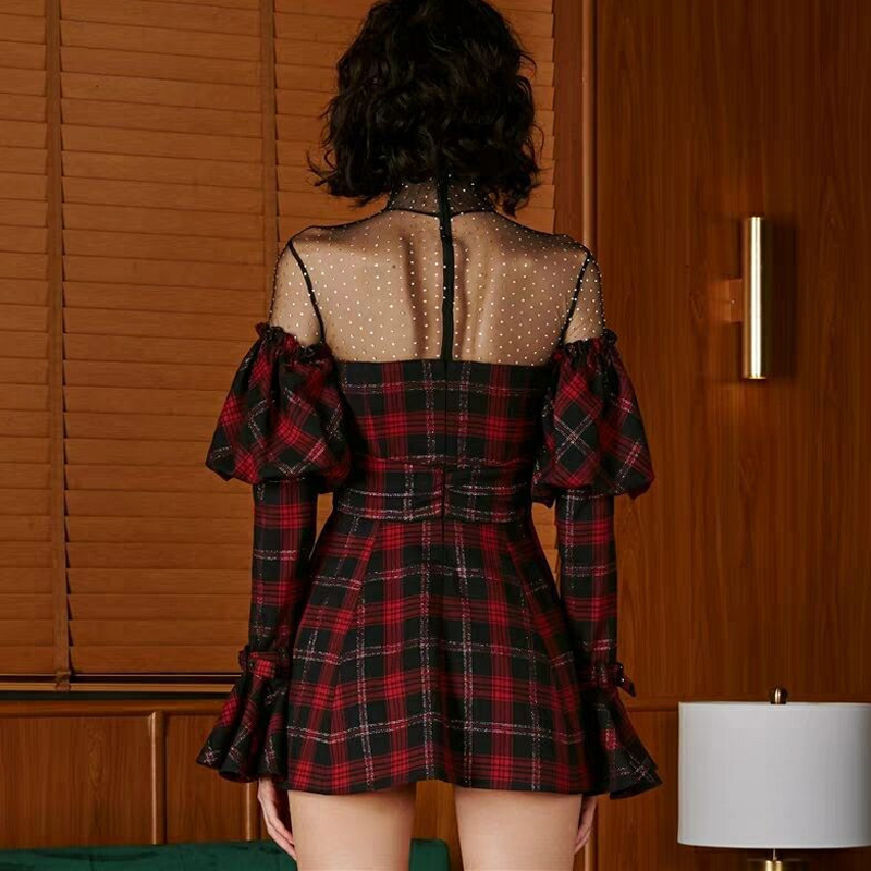 Femme Robe Slim Courte Maille Mini Col Flare Manches Plaid Haute Spring Robes Color Patchwork Sexy Montant Taille Récent Picture eED9YH2WI