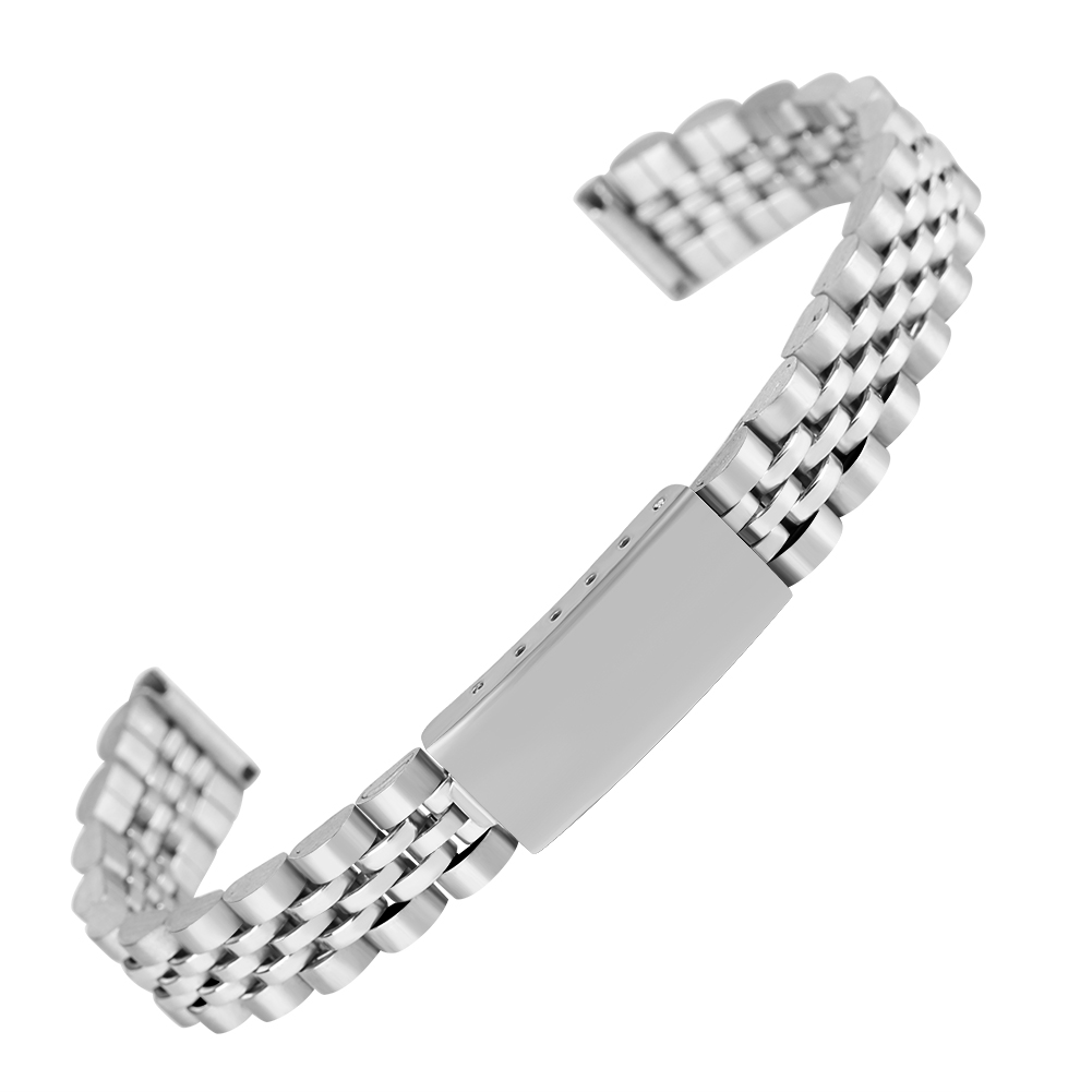 12MM Silvery Stainless Steel Watch Strap for Men Solid Metal Watches Band for Ladies Adjustable Bangle Watches Strap for Friends