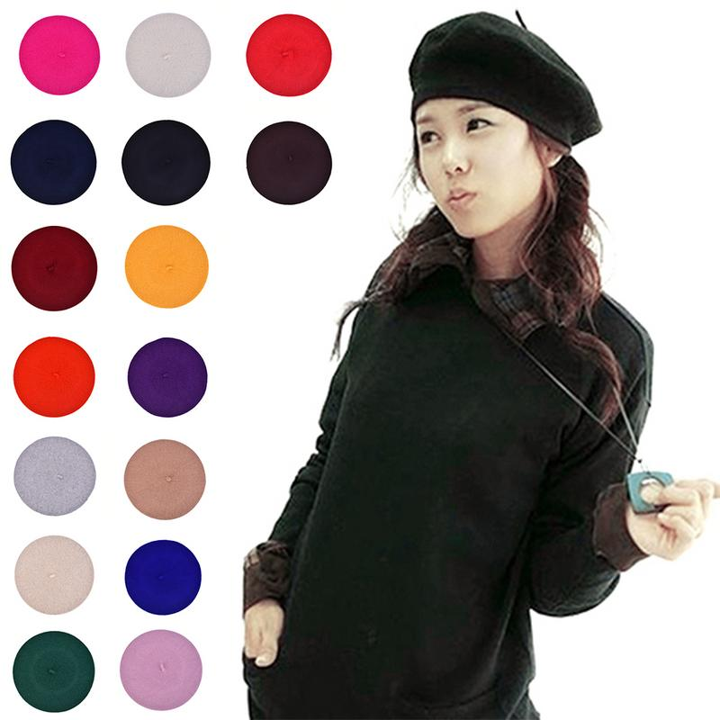f2e9d819c5ee27 Women's Beret Artist Wool Winter Beanie Hat Cap Solid Color Girl's Warm Cap  Black White Multicolor Wool Beret Beanie Hat Gift ~ Perfect Sale July 2019