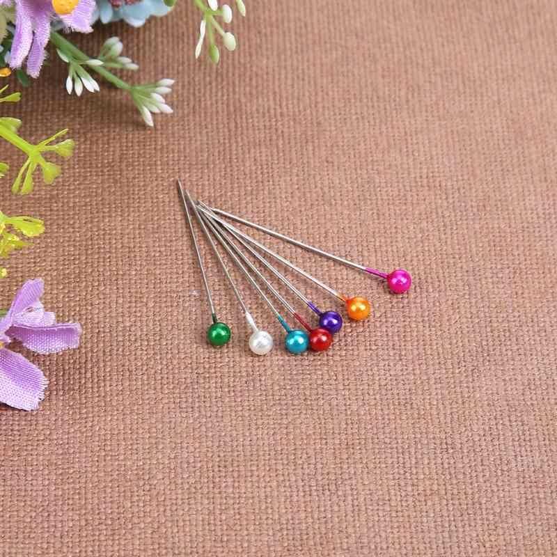 100pcs/set Round Pearl Head Sewing Needles Stitch Pins Wedding Bride Corsage Patchwork Accessories Tool Craft Decoration
