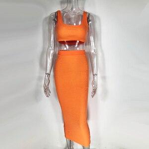 Image 4 - Colysmo Womens Sexy Tweedelige Sets 2019 Zomer 2 Delige Set Vrouwen Crop Top En Rok Set Party Club Outfits oranje Sets Kleding