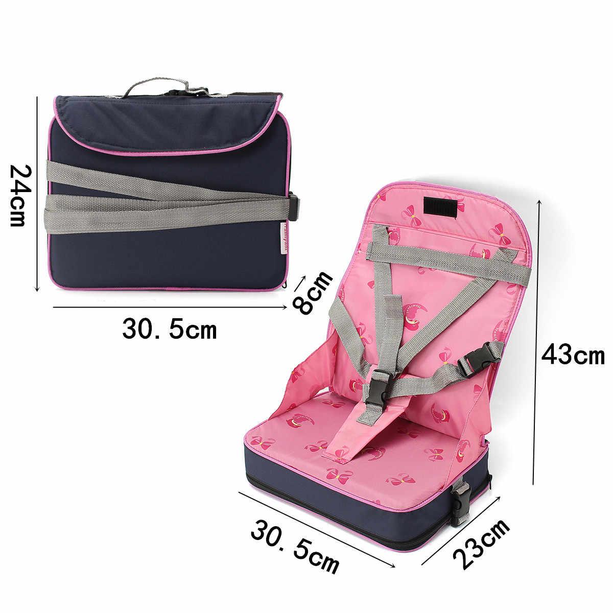 Складной обеденный стульчик для малышей, раскладное кресло для кормления, сиденье с ремнем безопасности, розовое/желтое/синее волокно, ткань + нейлон + губка