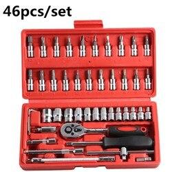 Profesjonalne 46 sztuk klucz ZESTAW GNIAZD 1/4 cal zestaw wkrętaków z grzechotką zestaw narzędzi do naprawy samochodu kombinacja naprawy narzędzi ręcznych w Zestawy narzędzi ręcznych od Narzędzia na