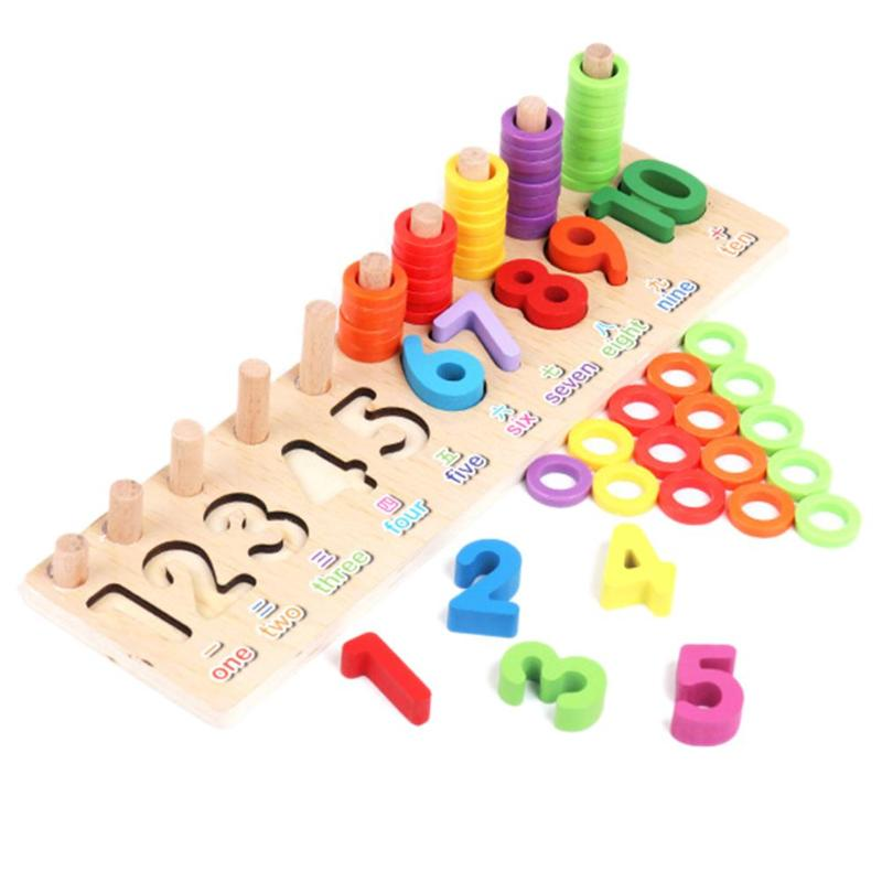 Kid Wood Montessori Numbers Count Shape Match Educational Teaching Math Toy