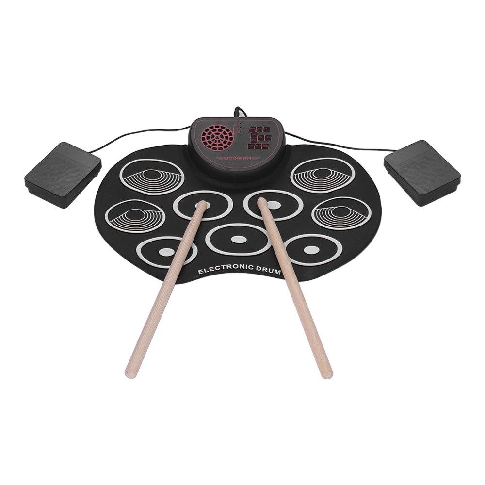9 tampons enroulables ensemble de tambour Portable tambour électronique numérique USB Silicone Kit de tampon de tambour électrique avec bâtons de tambour pédale de pied