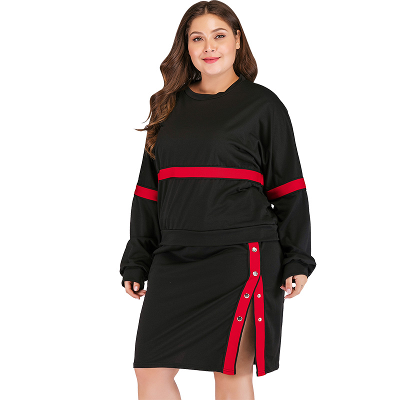 Two Piece Set Female Fashion Women Plus Size Striped Two-Piece Dress Long Sleeve Sweatshirt Button Split Skirt Set Casual Suits semi formal summer dresses