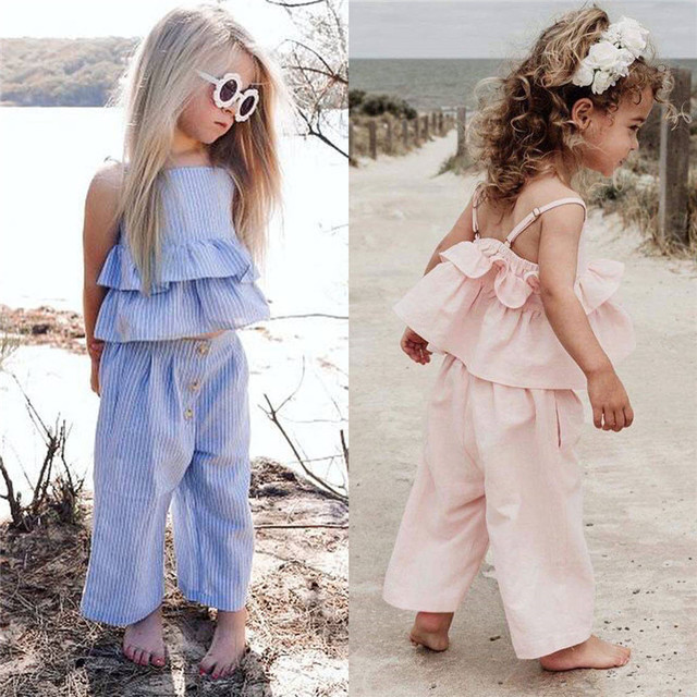 Fashion Kids Baby Girl Striped Outfits Summer Clothes Sleeveless Strap Ruffle Vest Tops Wide Led Pants Headband 3Pcs Sets 1-6Y