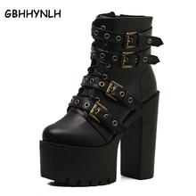 fur boots winter shoes women Boots Buckle platform shoes woman wedges black boots punk shoes high heels women ankle boots LJA99