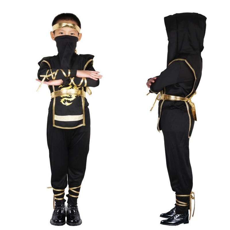 Kids Childrens Japanese Samurai Ninja Costumes Halloween Party Boys Girls Mysterious Warrior Stealth Cosplay Costume Assassin