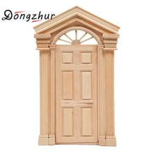Dongzhur New DIY Wooden 1:12 Dollhouse Door Miniaturas 1:12 Wooden Dollhouse Miniature 1:12 Toys For Kids Children WWP7868(China)