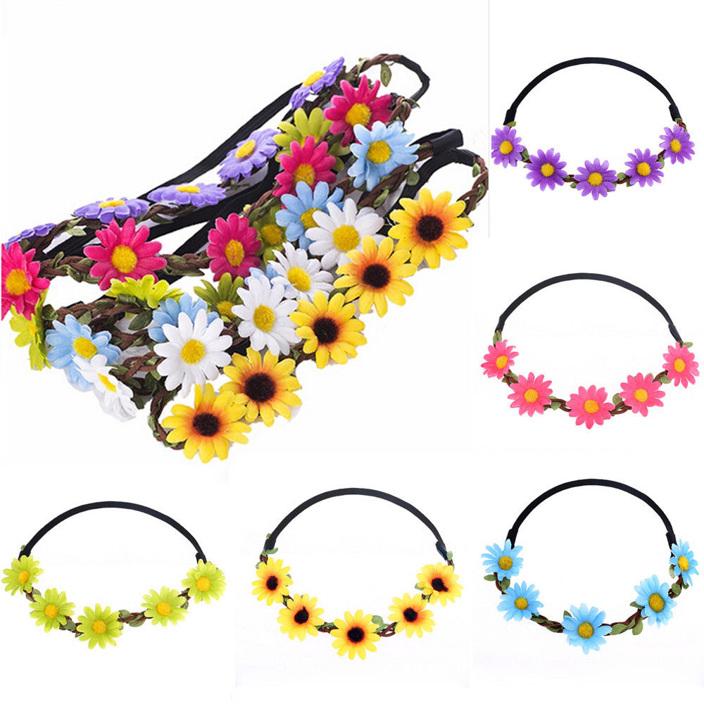 Flower Bohemia Headband Hair Accessories Women Girls Beach Flower Hair Bands Headband for Girls Elastic Flower Crown Headband