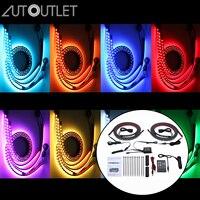 AUTOUTLET 12V Music Remote Control RGB Light Strip 5050SMD Car Auto Waterproof Decorative Flexible LED Strips brightness control