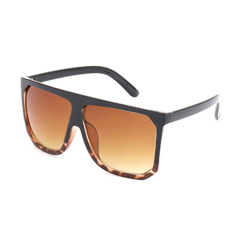 Men's and women's Fashion Sunglasses Oversize Female Flat Top Vintage Sun Glasses S17027 Lop Leopard