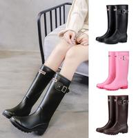 PVC Women Rain Boots For Girls Ladies Shoes For Walking Mid calf Female Low Heel Cold Weather Waterproof Winter Rainboots
