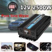 Инвертор 12 В 220 В 5000 Вт пики Чистый ЖК монитор Синусоидальная волна дисплей с дистанционным выключателем Трансформатор Мощность преобразов