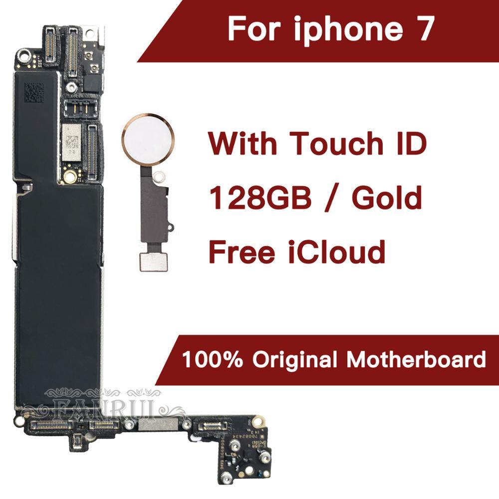 128 Gb Gold Für Iphone 7 4.7 Zoll Motherboard Mit Freies Icloud, Original Entsperrt Für Iphone 7 Mainboard Mit Touch-id