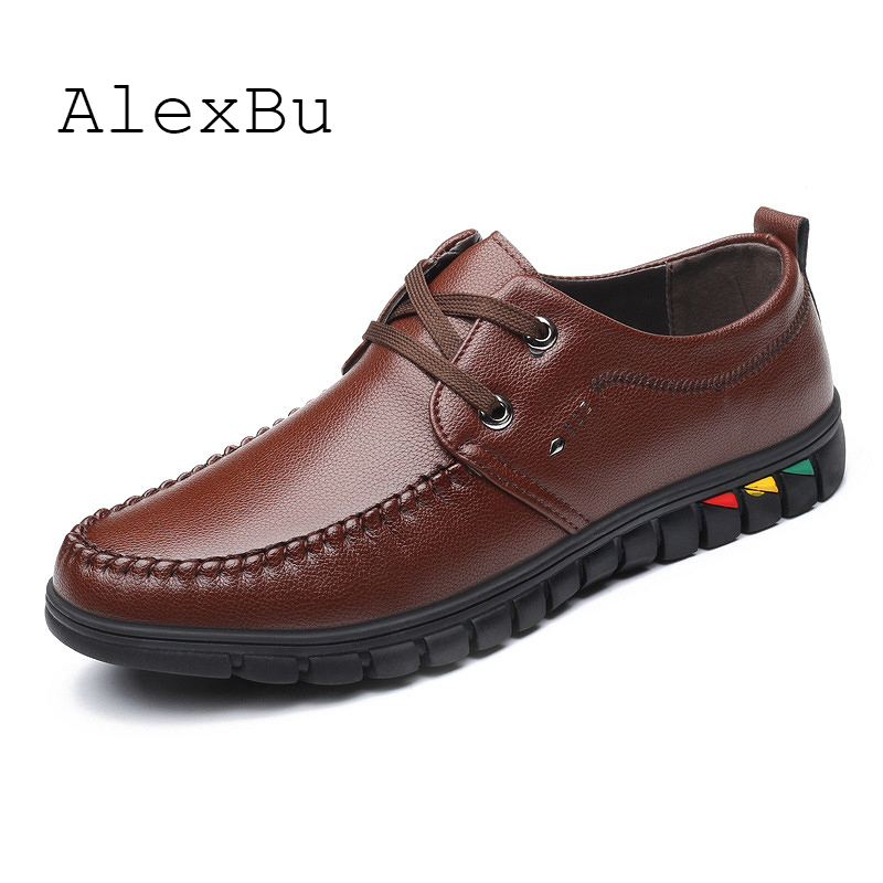 AlexBu 2020 New Man Shoes Casual Lace Up Men Business Office Dress Shoe Man Leather Shoes Soft Bottom Men's Classic Shoes