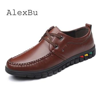 AlexBu 2020 New Man Shoes Casual Lace Up Men Business Office Dress Shoe Man Leather Shoes Soft Bottom Men's Classic Shoes