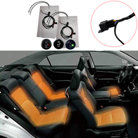4x Heater Pads Seat Heater Kit Carbon Fiber + 2x Round High/Low Switch DC12V 27W
