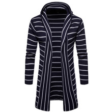 #8023 Spring Autumn Thick Men's Sweatercoat Striped Sweater Knitted Slim Fit Stitching Long Cardigan Hooded Sweater M-XXL