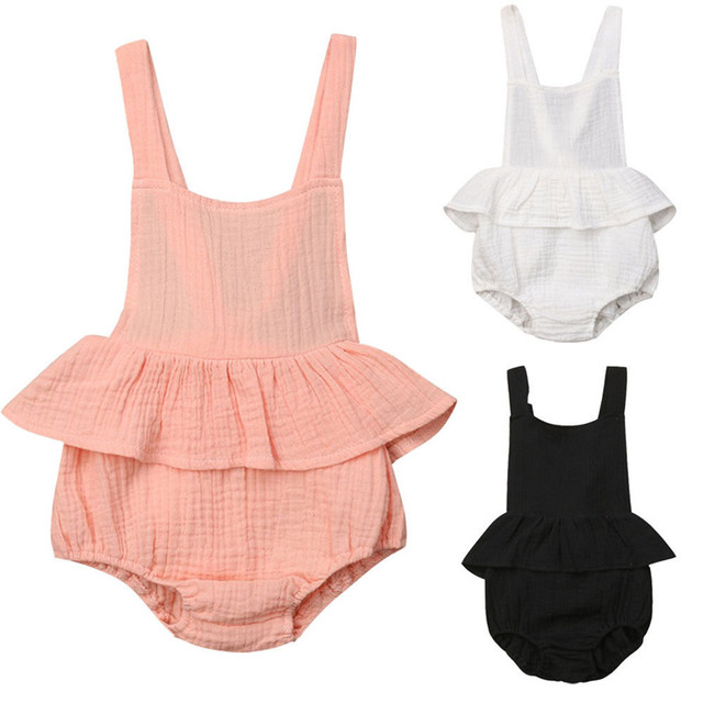 cbbf912496a3 Lovely Infant Newborn Baby Girl Bodysuit Sleeveless Cotton Linen Jumpsuit  Outfits Sunsuit Pink White Ballet Clothes 0-18 Months