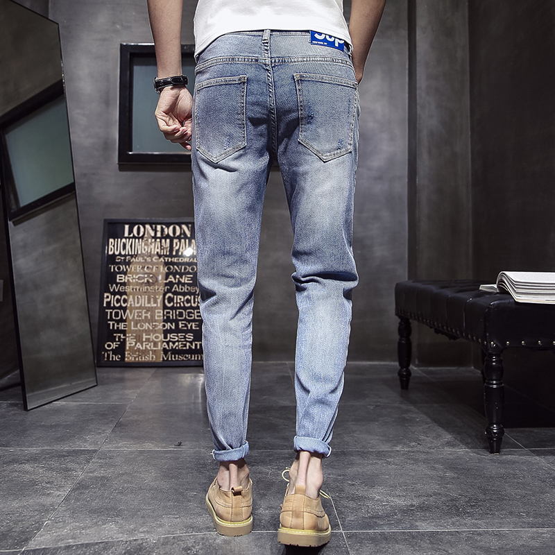 Mode homme Vintage déchiré Jeans Skinny Slim Fit Zipper Denim pantalon détruit effiloché pantalon lettre imprimé pantalon Jeans Hombre-in Jeans from Vêtements homme on AliExpress - 11.11_Double 11_Singles' Day 2