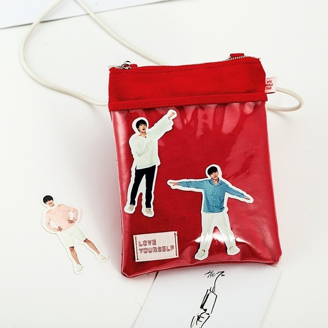 Kpop Bangtan Boys Red Shoulder Bags Official Same Paragraph Mini Package Surrounding And Real Person Stickers