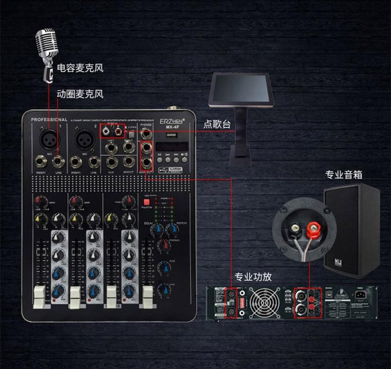 LEORY BTF4 4 Kanalen Bluetooth Audio Mixing Console Record Audio Mixer met USB DJ Controller Mixer Apparatuur Professionele - 3