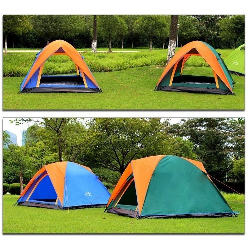 3-4 personne Double couche Camping tente avec Double porte extérieure imperméable auvent tente 200x180x140 cm pour pêche Camping fête - 5