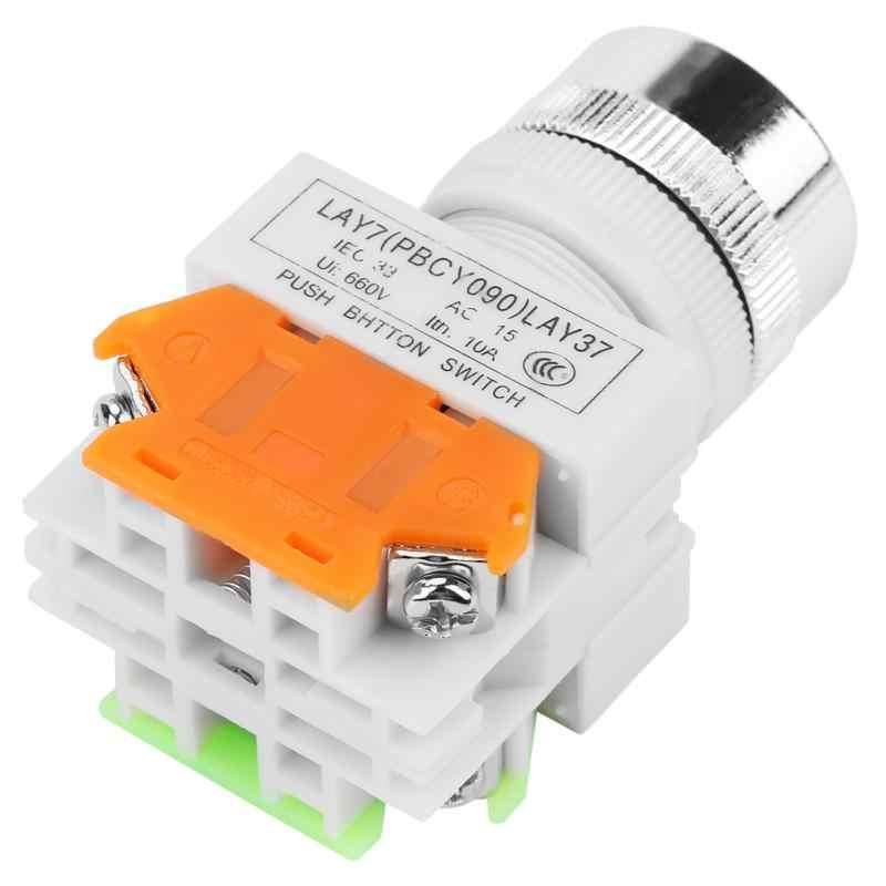 Кнопочный переключатель автоматический сброс плоский Зеленый кнопочный Мгновенный Переключатель 22 мм крепление LAY37-11BN Автоматический Сброс переключатель