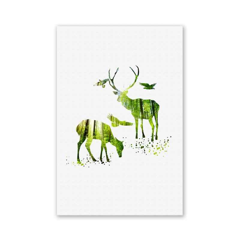 Green Animals Pattern  Wall Art Painting Printed Picture Home Office Decor