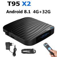 T95X2 Smart TV BOX Android 8.1 4GB 32GB 64GB Amlogic S905X2 Quad Core H.265 4K Youtube Media Player Set top Box T95 X2