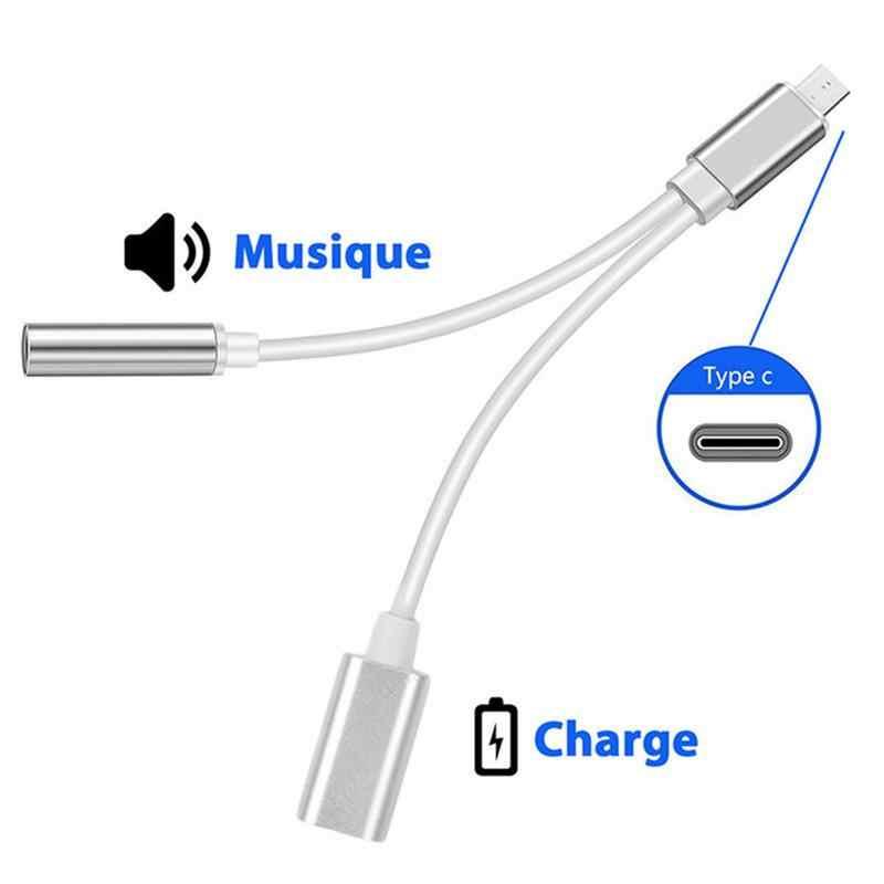 USB-C Adapter trwałe typu C Audio ładowania 2-in-1 typu C przekształcenie w 3.5 słuchawki kabel adaptera Audio różowe złoto srebro czarny