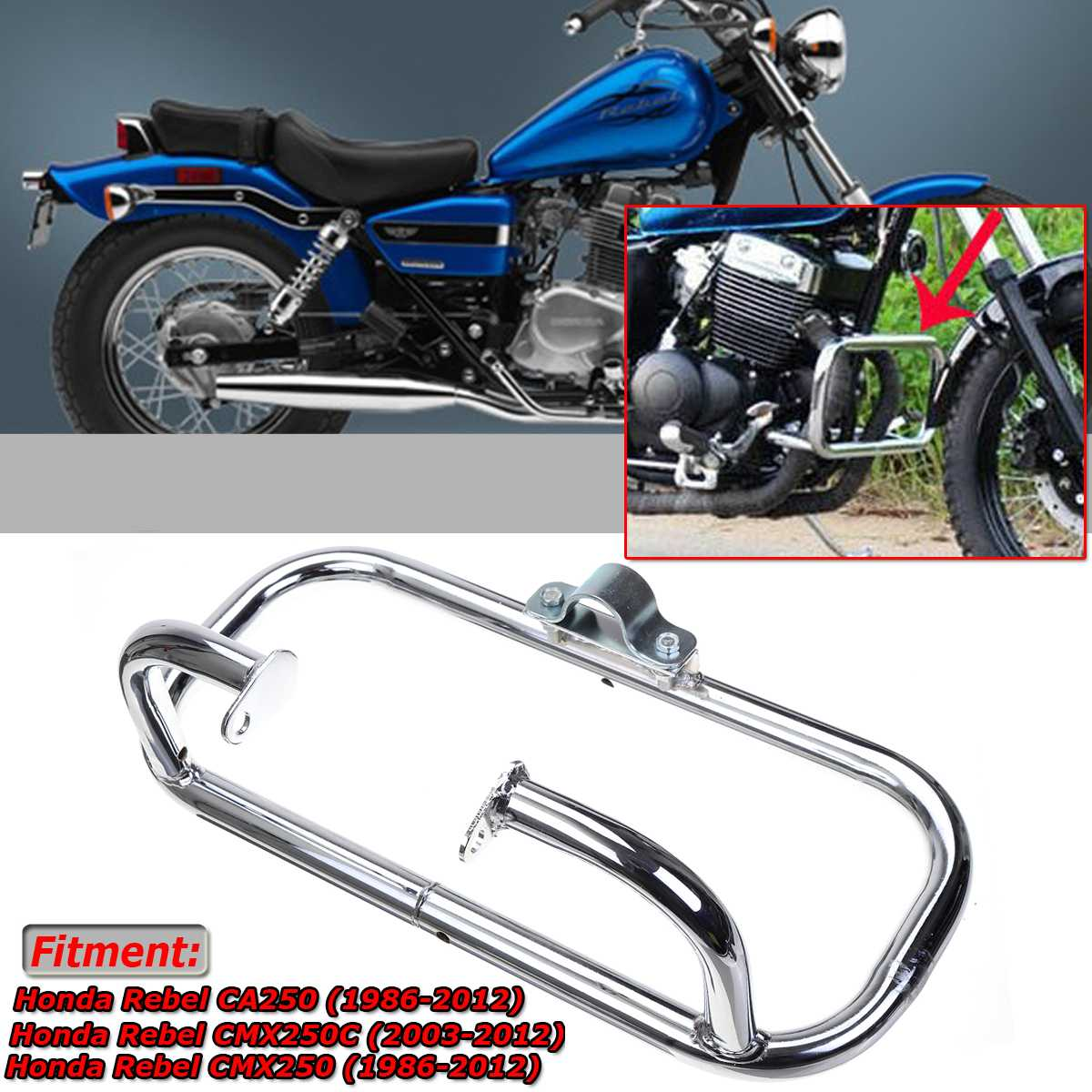 hight resolution of new engine guard crash bar motorcycle front engine guard crash bar for honda rebel 250 ca250 cmx250 cmx250c metal safety bumper in bumpers chassis from