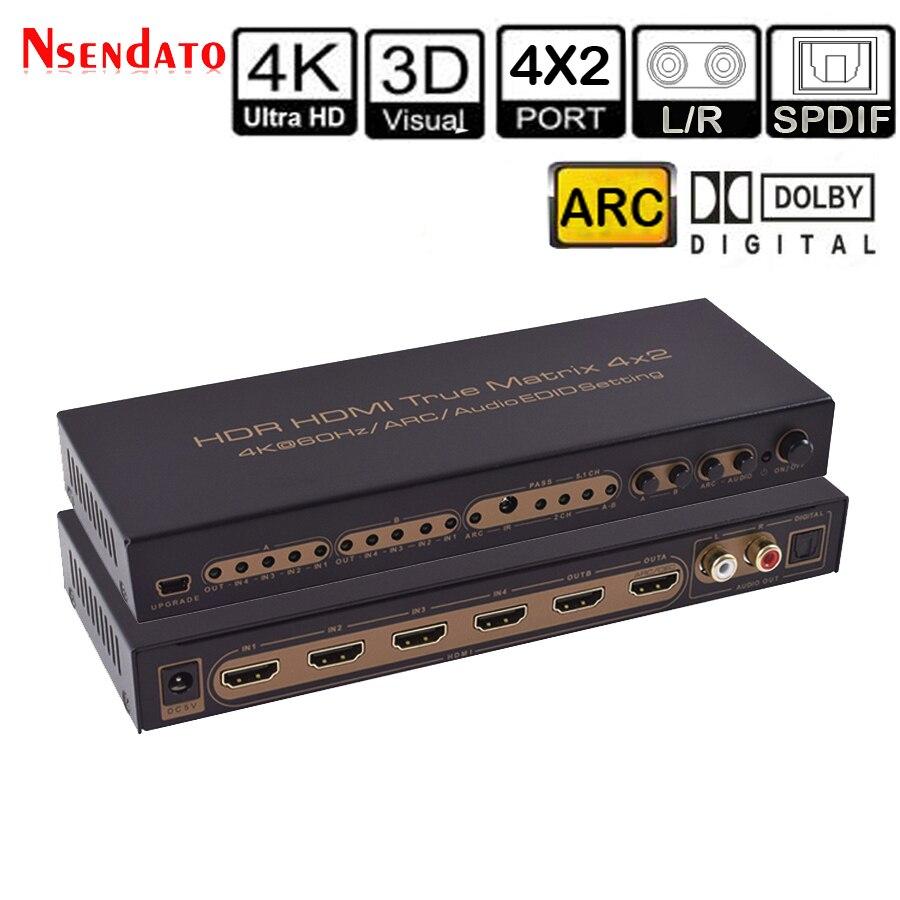 4 k * 2 k 60 hz hdr hdmi matriz verdadeira 4x2 interruptor de extrator de áudio para dolby arc spdif edid 4 em 2 para fora conversor hdmi switcher splitter
