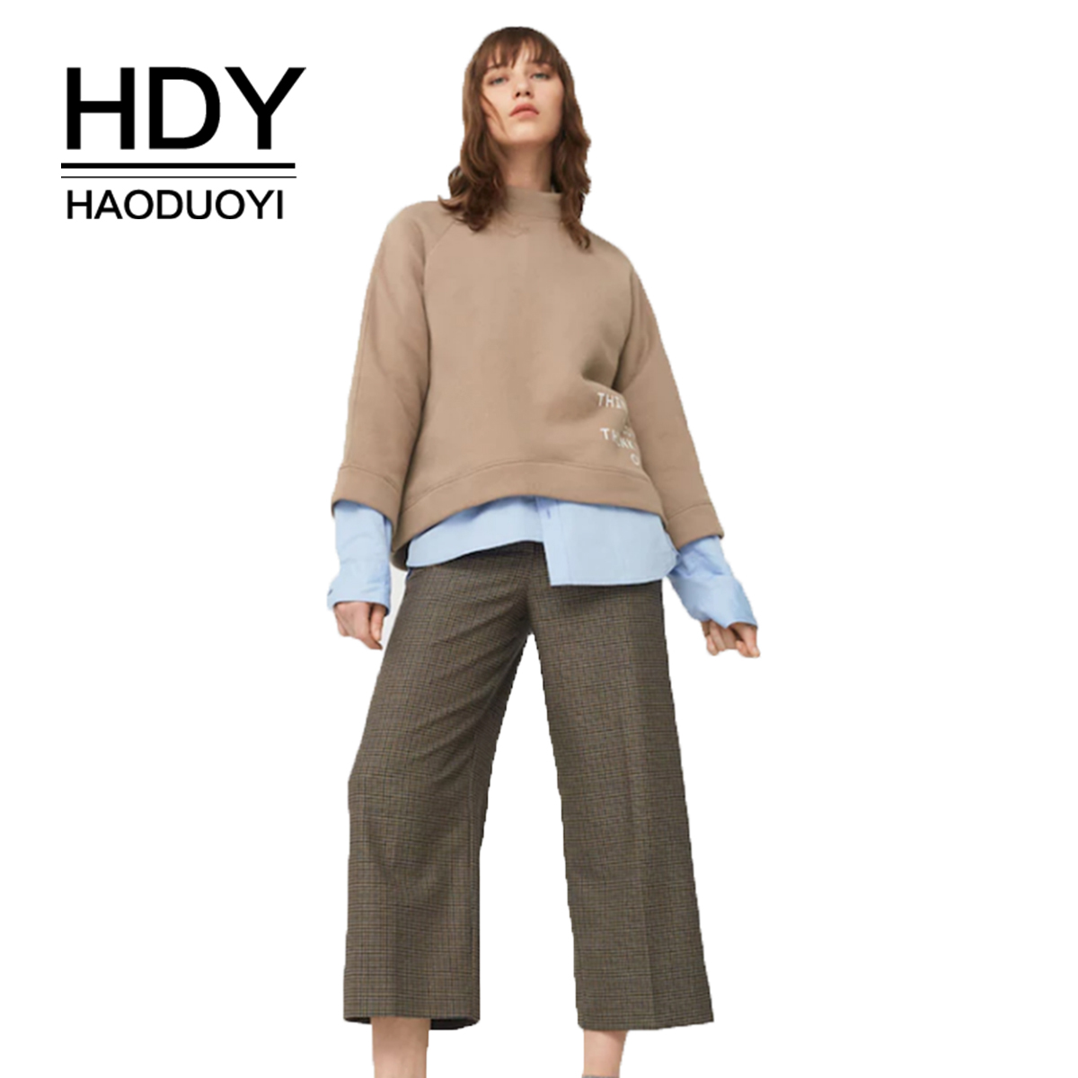 HDY Haoduoyi Simple and Easy College Commuting Neutral Wind Letter Printed Round collar Sports Leisure Sanitary Clothing in Hoodies amp Sweatshirts from Women 39 s Clothing