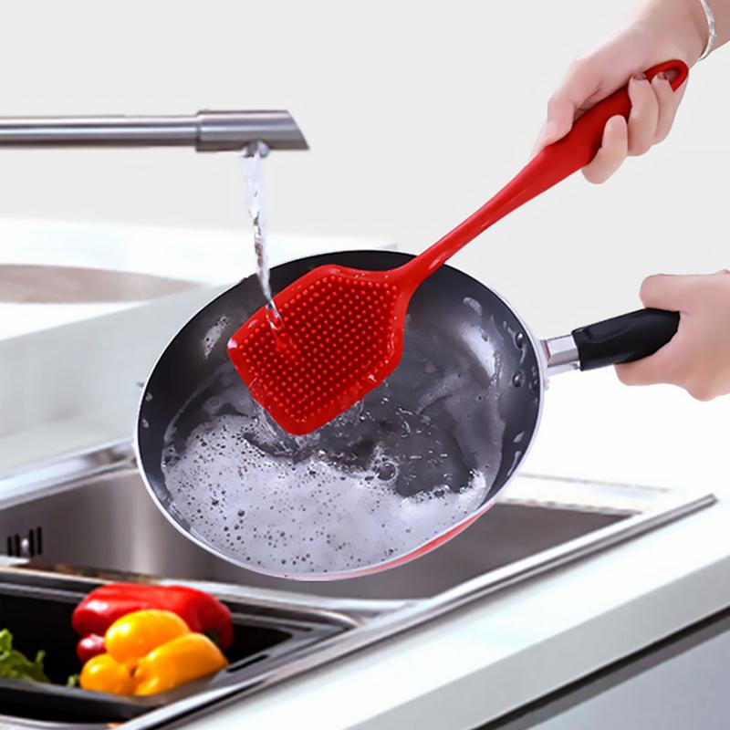 Kitchen Silicone Cleaning Brush Pots Pans Dishes Scrubber with Long Neck Ergonomic Handle Color Coded Kitchen Tools in Cleaning Brushes from Home Garden