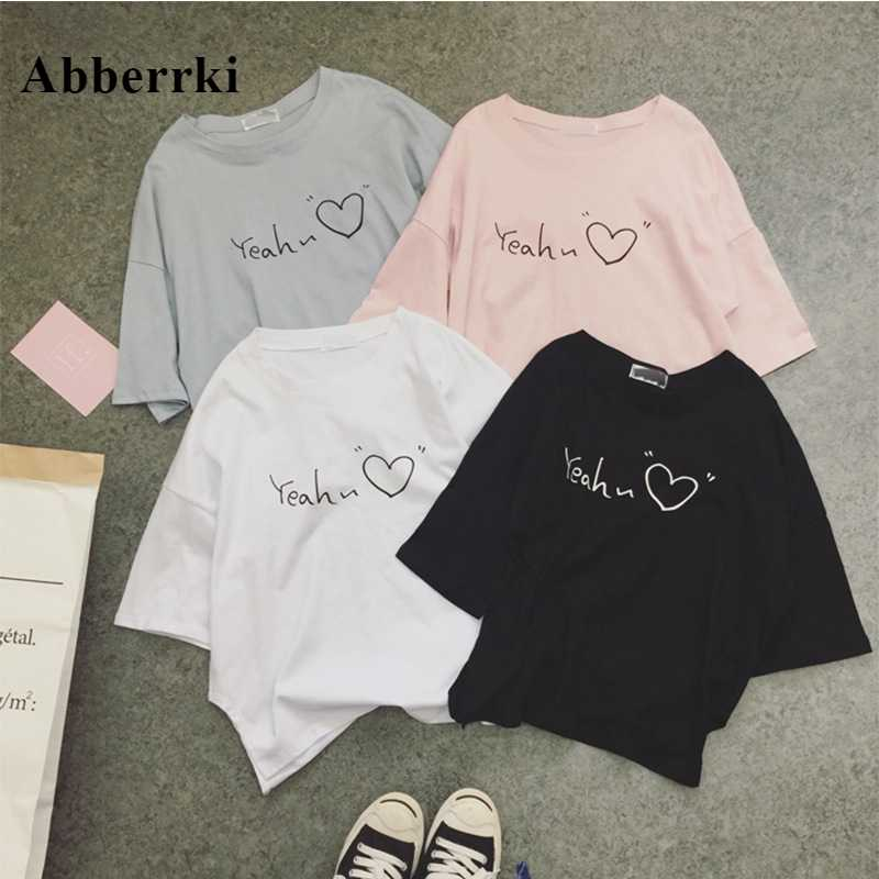 Korean Tshirt Women Short Sleeve Love Print T-shirt Ladies Tops Summer T Shirt Harajuku Tee Shirt Femme Camisetas Mujer Verano