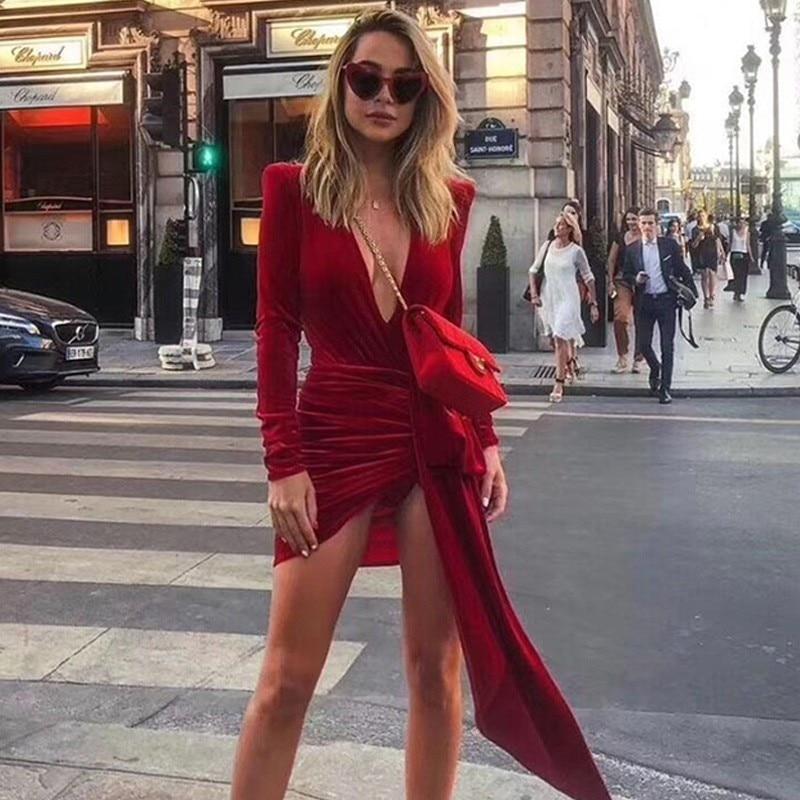 Joyfunear 2019 New Asymmetrical V Neck Long Sleeve Women Dresses Sashes Sexy Mini Party Dresses Red Velvet Bodycon Dress Vesidos