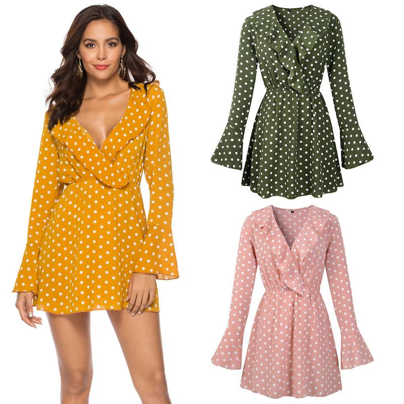 2019 New Fashion Spring Women's Dress Sexy V Neck Polka Dot Chiffon Flared Sleeve Dress