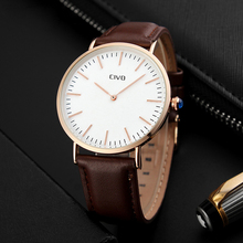 CIVO Top Brand Luxury Waterproof Quartz Watch Classic Design Ultra Thin Minimalist Watches Genuine Leather Wristwatch Clock
