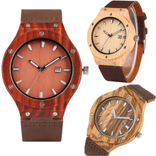 Simple Watchband Wooden Watch for Men Quartz Red Sandalwood/Striped Horse/Maple Wood Watches for Teenagers Calendar Watch Gift все цены