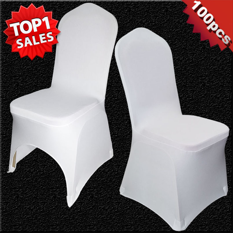 100 Pieces Universel Blanc Stretch Fete De Mariage Polyester Spandex Housses Chaise Pour Les Mariages Banquet Hotel Decoration Decor Dans
