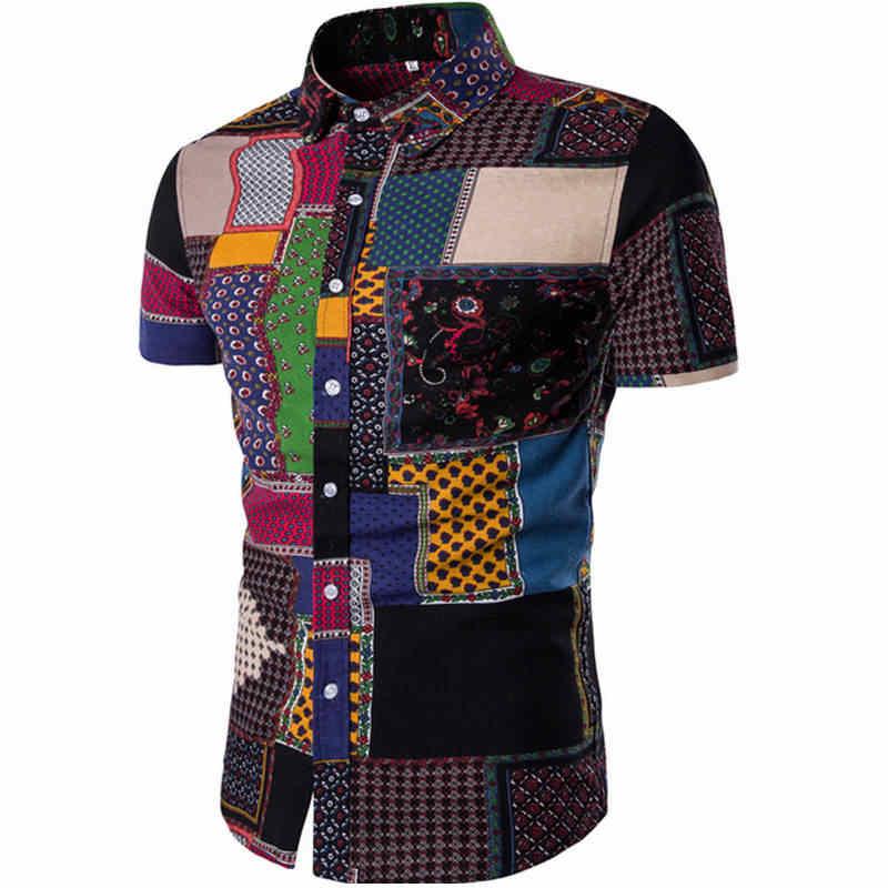 Мужская Летняя модная пляжная гавайская рубашка, брендовая приталенная рубашка с коротким рукавом и цветочным принтом, повседневная праздничная одежда M-5XL